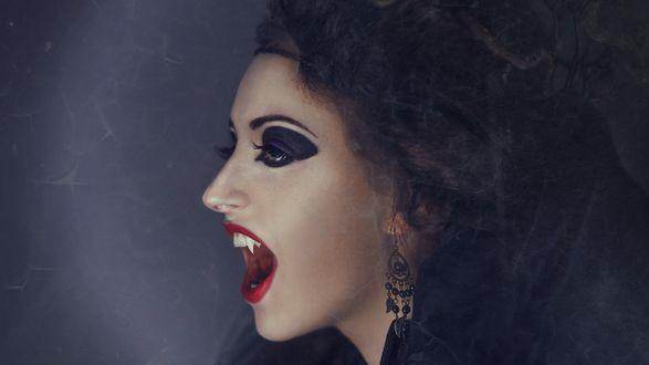 Обои Девушка - вампир в черной вуали