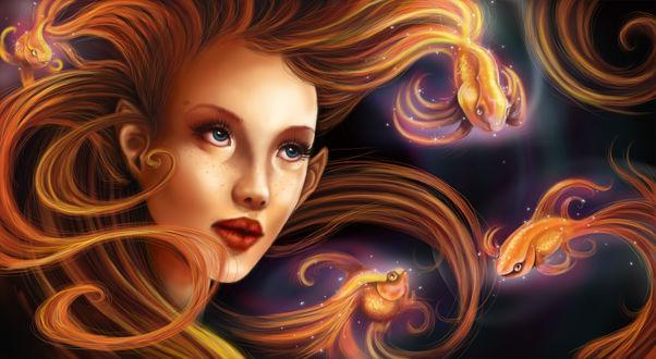 Обои Портрет девушки-эльфийки в окружении рыб, by Yoell