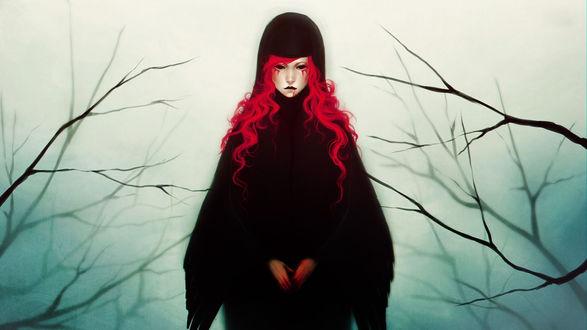 Обои Девушка аниме с красными волосами и кровью на губах среди веток в тумане