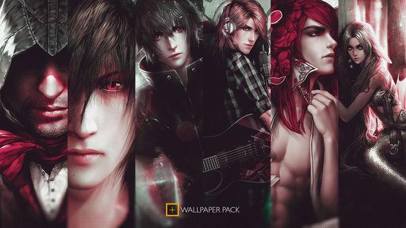 Обои Коллаж Шесть мужских персонажей аниме, (Wallpaper pack)