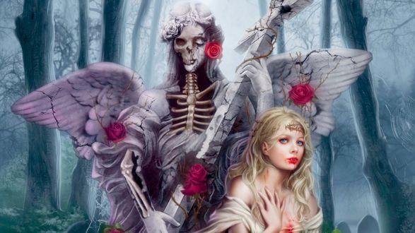 Обои Ангел смерти с крестом и в розах и девушка со светлыми волосами в лесу