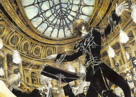Обои Парень в военной форме дирижирует симфоническим оркестром в театре с люстрами, аниме Trinity Blood / Кровь Триединства, art by Shibamoto Thores
