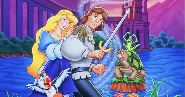 Обои Принцесса Odette / Одетт, принц Derek / Дерек, Jean-Tat / Жан-Прыг, Outrunner / Скороход и Lieutenant Puffin / Лейтенант Пуффин герои из мультфильма Princess-Swan / Принцесса-лебедь