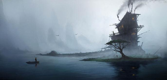 Обои Мужчина стоит в лодке и смотрит на женщину, стоящую на балконе кривого трехэтажного домика на острове, виднеющегося в тумане, art by Emmanuel Shiu