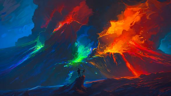 Обои Художник с мольбертом стоит на камне перед извергающимся вулканом, художник Артем Чебоха