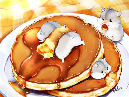 Обои Милые хомячки на тарелке с оладьями