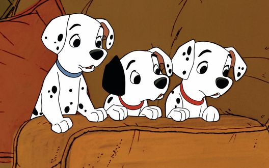 Обои Три далматинца на диване, мультфильм One Hundred And One Dalmatians / 101 далматинец