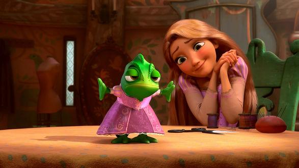 Обои Princess Rapunzel / Принцесса Рапунцель и хамелеон Pascal / Паскаль, герои мультфильма Tangled / Рапунцель: Запутанная история