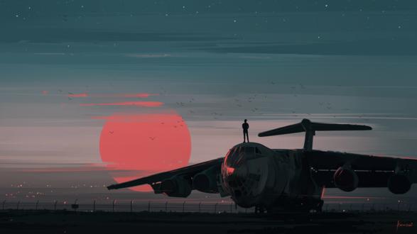 Обои Парень стоит на самолете на фоне неба с красным солнцем, by Aenami