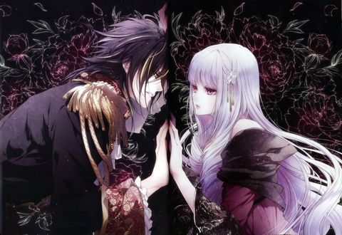 Обои Violette и Leon смотрят друг на друга через зеркало из манги Reine de Fleurs, art by Usuba Kagerou
