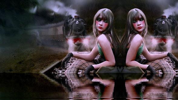 Обои Девушка в чулках-сеточках сидит в воде перед приближающимся поездом