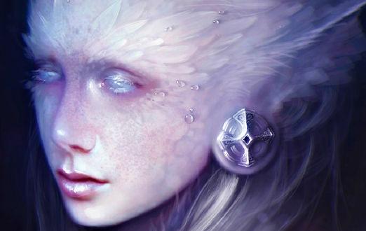 Обои Девушка -нимфа с белыми с белыми волосами, закрытыми глазами и серьгой в виде кельтского креста, by oione