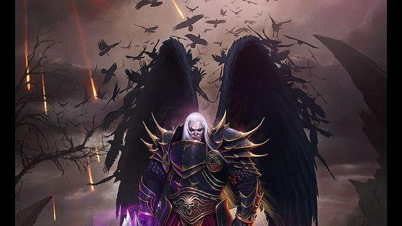 Обои Dark Angel / Темный ангел с белыми волосами, в доспехах с черепами, и с черными крыльями, превращающихся в ворон, на фоне падающих метеоритов, by Deligaris