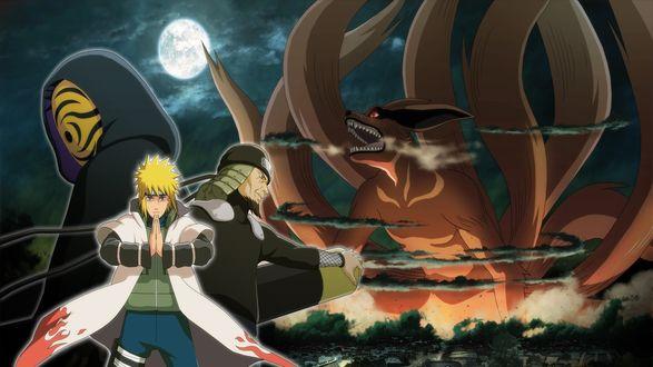 Обои Минато Намикадзе / Minato Namikaze и Третий Хокаге запечатывают девятихвостого Лиса, напавшего на Коноху, из аниме Наруто / Naruto
