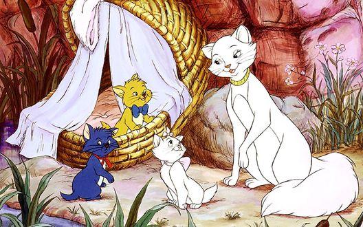 Обои Котята Берлиоз, Мари, Тулуз и кошка Герцогиня из мультфильма The AristoCats / Коты-аристократы