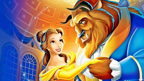 Обои Belle / Белль и Beast / Зверь танцуют, персонажи мультфильма Beauty and the Beast / Красавица и чудовище