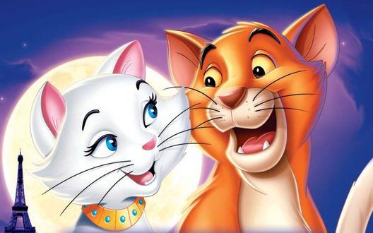 Обои Кот Томас О'Мелли и кошка Герцогиня из мультфильма The AristoCats / Коты-аристократы