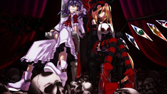 Обои Рэмилия / Remilia и Фландр Скарлет / Flandre Scarlet из серии игр и аниме Тохо / Touhou сидят на стульях среди черепов на фоне красных занавесей