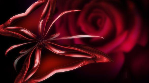Обои Красная бабочка на фоне размытой красной розы
