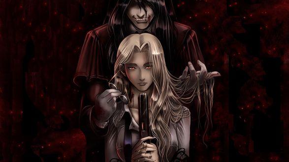 Обои Алукард / Alucard и Интегра / Integra из аниме Хеллсинг / Hellsing