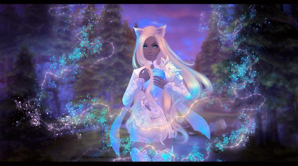 Обои Светящаяся девушка - кошка, by Alenari
