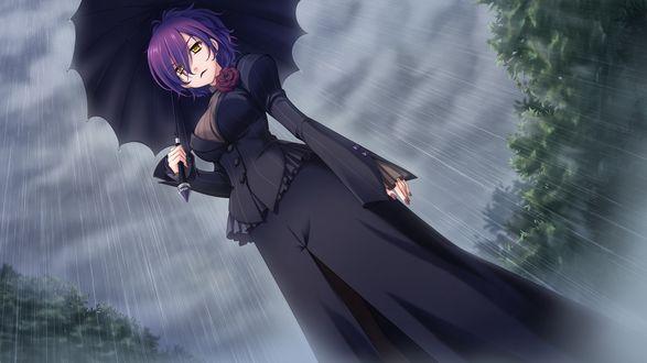 Обои Девушка Nagi Kuurin / Наги Куурин в черном под зонтиком в дождь, в окружении зеленых деревьев под грозовым небом, игра Astraythem
