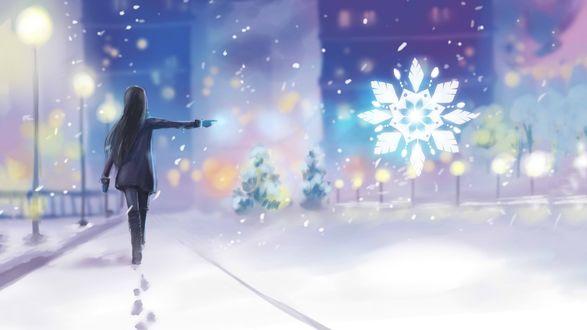 Обои Девушка голосует на дороге в городе, освещенном фонарями, зимой, ночью, под снегом