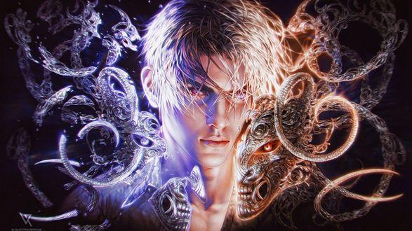 Обои Парень с белыми волосами в окружении абстрактных змей с цепями, ангел и демон, by Valentina-Remenar