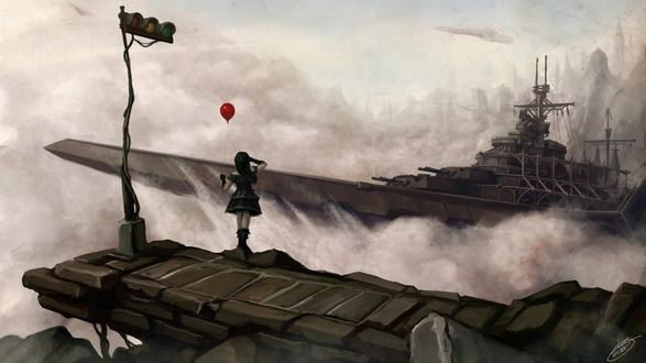 Обои Девушка с красным шариком стоит на пирсе и смотрит на военный корабль в тумане