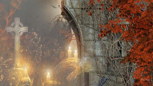 Обои Крест и свечи рядом с фрагментом разрушенной арки и красным осенним кустом в Хеллоуин
