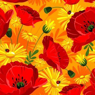Обои Яркие цветы красных маков и желтых ноготков