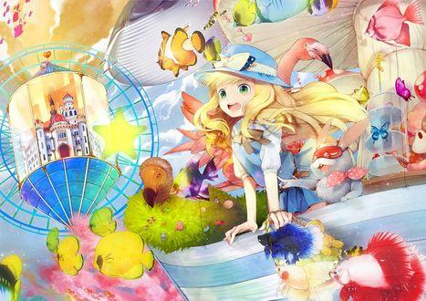 Обои Восхищенная Алиса / Alice стоит с Белым Кроликом в окружении рыбок и розовых фламинго, из сказки Alice in Wonderland / Алиса в стране Чудес