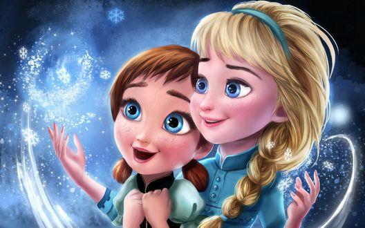 Обои Сестры Elsa / Эльза и Anna / Анна из мультфильма Frozen / Холодное сердце