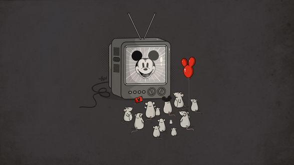 Обои Мышки сидят перед старим телевизор, где на экране Mickey Mouse / Микки Маус из одноименного мультфильма