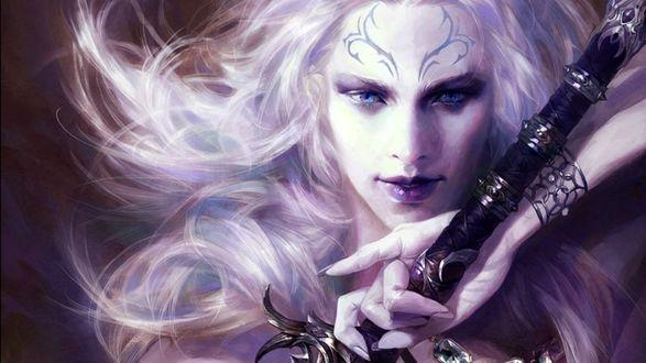 Обои Девушка - эльф с белыми волосами и с татуировкой на лбу, с мечом в руке