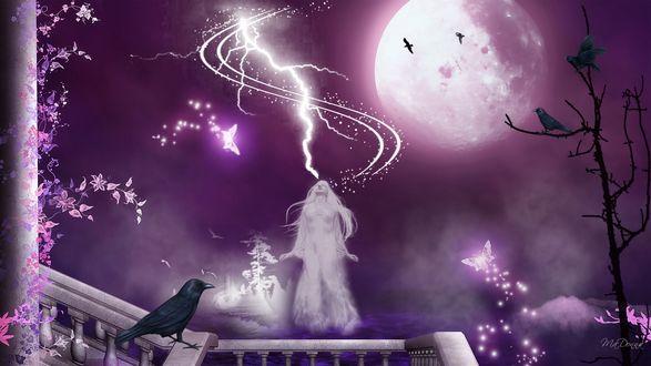 Обои Девушка-приведение над водой в тумане поднимается в воздухе на фоне полной луны. Ворон сидит на перилах
