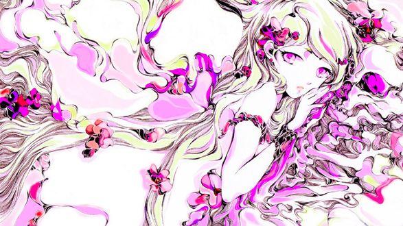 Обои Девушка аниме с длинными волосами лежит в окружении розовых цветов