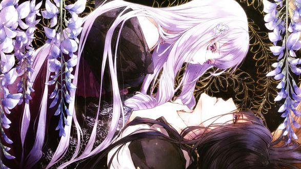 Обои Плачущая Виолетта / Violette склонилась над лежащим Губертом / Hubert под цветущей глицинией из отоме-игры Королева цветов / Reine des Fleurs, art by Usuba Kagerou