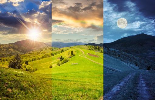 Обои Пейзаж - коллаж природы в разное время суток