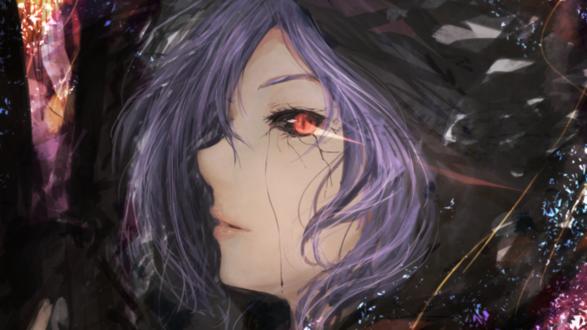 Обои Kirishima Toukaanime / Киришима Тука с сиреневыми волосами и красным глазом, в разноцветных бликах