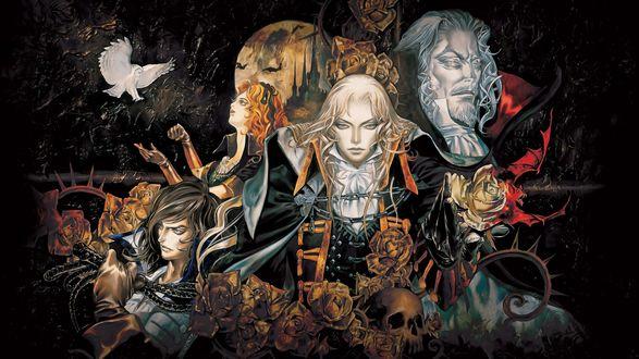 Обои Персонажи игры-аниме Castlevania / Вампиры на фоне луны и замка, окруженные розами и черепами. По небу летит голубь