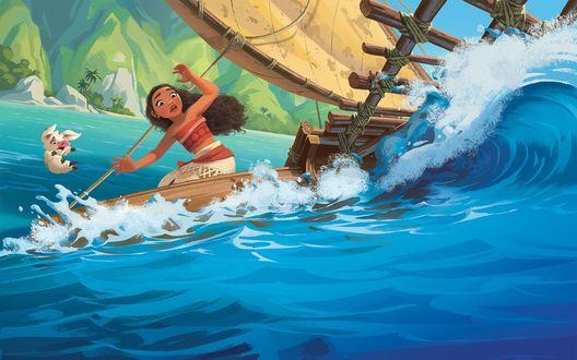 Обои Испуганная Moana / Моана в лодке и поросенок Pua / Пуа из мультфильма Moana / Моана