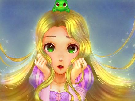 Обои Принцесса Rapunzel / Рапунцель из мультфильма Tangled / Запутанная история с хамелеоном по имени Паскаль / Pascal на голове, by Flannel-kun