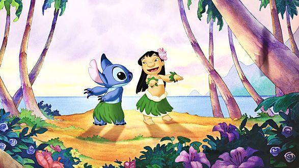 Обои Lilo / Лило и Stich / Стич герои из одноименного мультфильма, танцуют среди деревьев