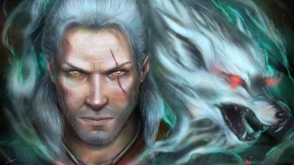 Обои Персонаж игры Witcher / Ведьмак Геральд и дымчатый волк с красными глазами