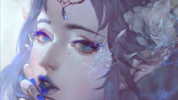 Обои Грустная девушка - эльфийка с голубыми глазами и губами, сиреневыми волосами и цветами, by Dark134