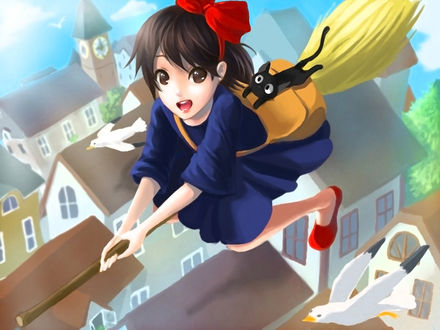 Обои Kiki / Кики и Jiji / Джиджи из аниме Kikis Delivery Service / Служба доставки Кики / Ведьмина служба доставки, by Flannel-kun