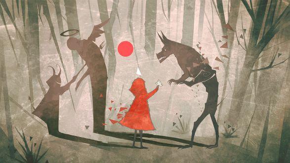 Обои Девочка в красном в лесу рядом с волком и ее тень с рогами рядом с ангелом