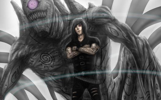 Обои Персонаж Madara uchiha / Мадара учиха в черном, с татуировками, стоит, скрестив руки, на фоне циклопа, by lainad007