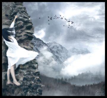 Обои Девушка в белом на скале машет рукой пролетающим над горами и лесами птицам, by silentfuneral